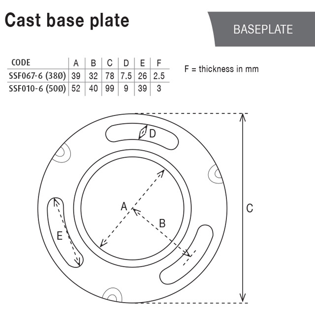 Base Plate (3.5mm Cast) for 50.8 Round Tube