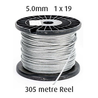 5.0mm Wire Cable Rope - 1x19 - 305 metre Reel