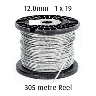 12.0mm Wire Cable Rope - 1x19 - 305 metre Reel