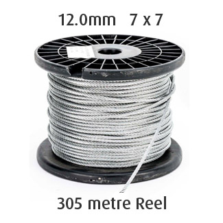 12.0mm Wire Cable Rope - 7x7 - 305 metre Reel